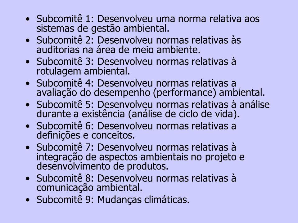 Subcomitê 1: Desenvolveu uma norma relativa aos sistemas de gestão ambiental. Subcomitê 2: Desenvolveu normas relativas às auditorias na área de meio