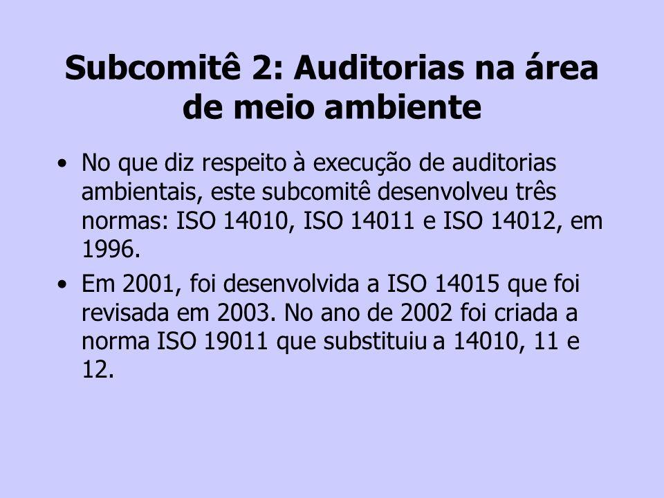 Subcomitê 2: Auditorias na área de meio ambiente No que diz respeito à execução de auditorias ambientais, este subcomitê desenvolveu três normas: ISO