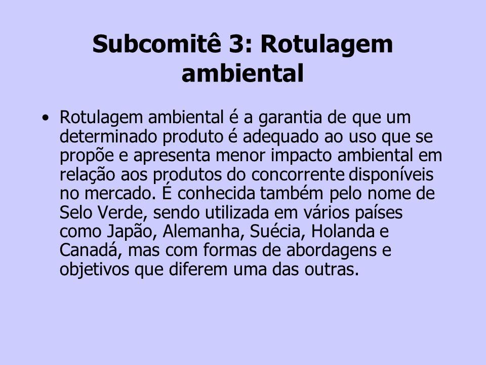 Subcomitê 3: Rotulagem ambiental Rotulagem ambiental é a garantia de que um determinado produto é adequado ao uso que se propõe e apresenta menor impa