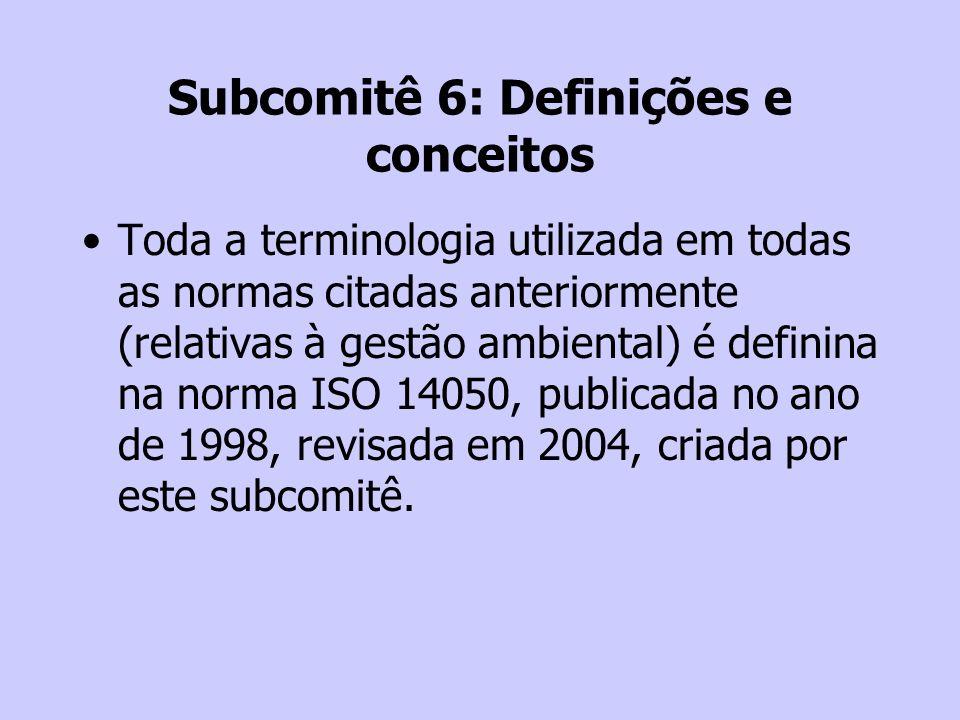 Subcomitê 6: Definições e conceitos Toda a terminologia utilizada em todas as normas citadas anteriormente (relativas à gestão ambiental) é definina n