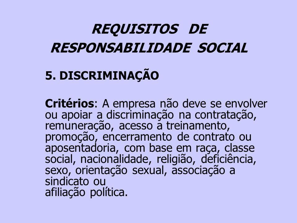 REQUISITOS DE RESPONSABILIDADE SOCIAL 5. DISCRIMINAÇÃO Critérios: A empresa não deve se envolver ou apoiar a discriminação na contratação, remuneração