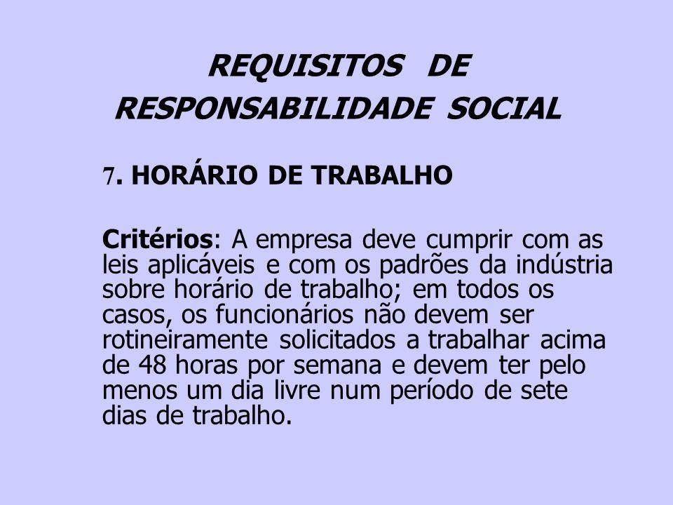 REQUISITOS DE RESPONSABILIDADE SOCIAL 7. HORÁRIO DE TRABALHO Critérios: A empresa deve cumprir com as leis aplicáveis e com os padrões da indústria so