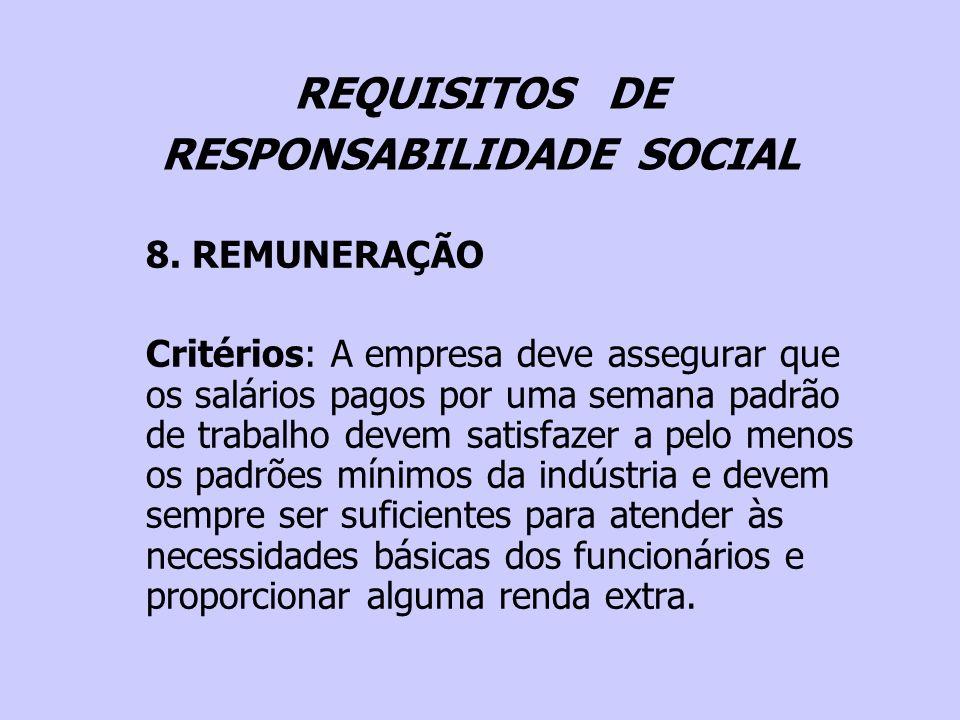 REQUISITOS DE RESPONSABILIDADE SOCIAL 8. REMUNERAÇÃO Critérios: A empresa deve assegurar que os salários pagos por uma semana padrão de trabalho devem