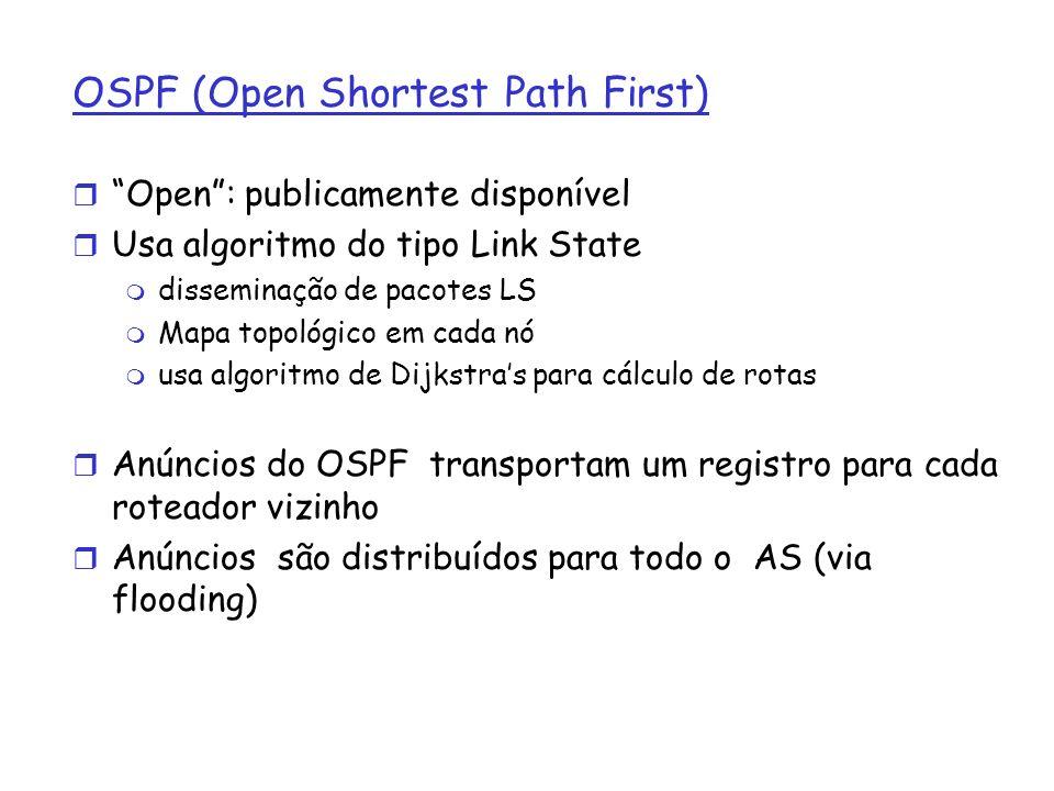OSPF (Open Shortest Path First) r Open: publicamente disponível r Usa algoritmo do tipo Link State m disseminação de pacotes LS m Mapa topológico em c