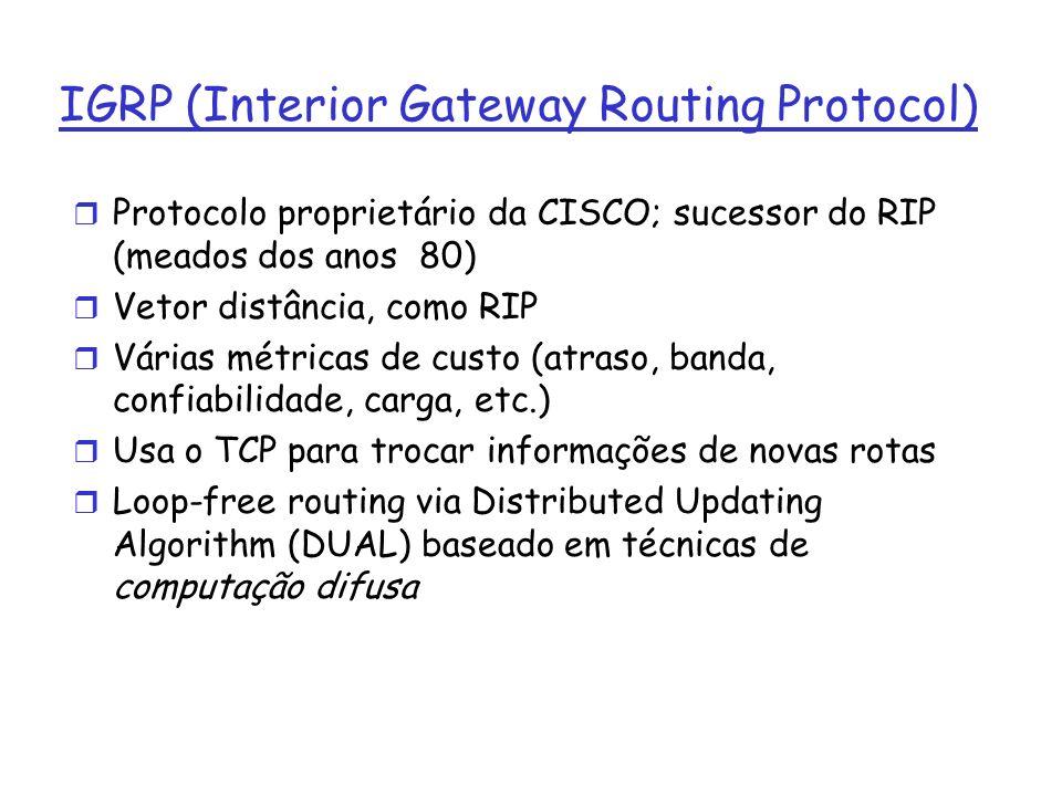 IGRP (Interior Gateway Routing Protocol) r Protocolo proprietário da CISCO; sucessor do RIP (meados dos anos 80) r Vetor distância, como RIP r Várias