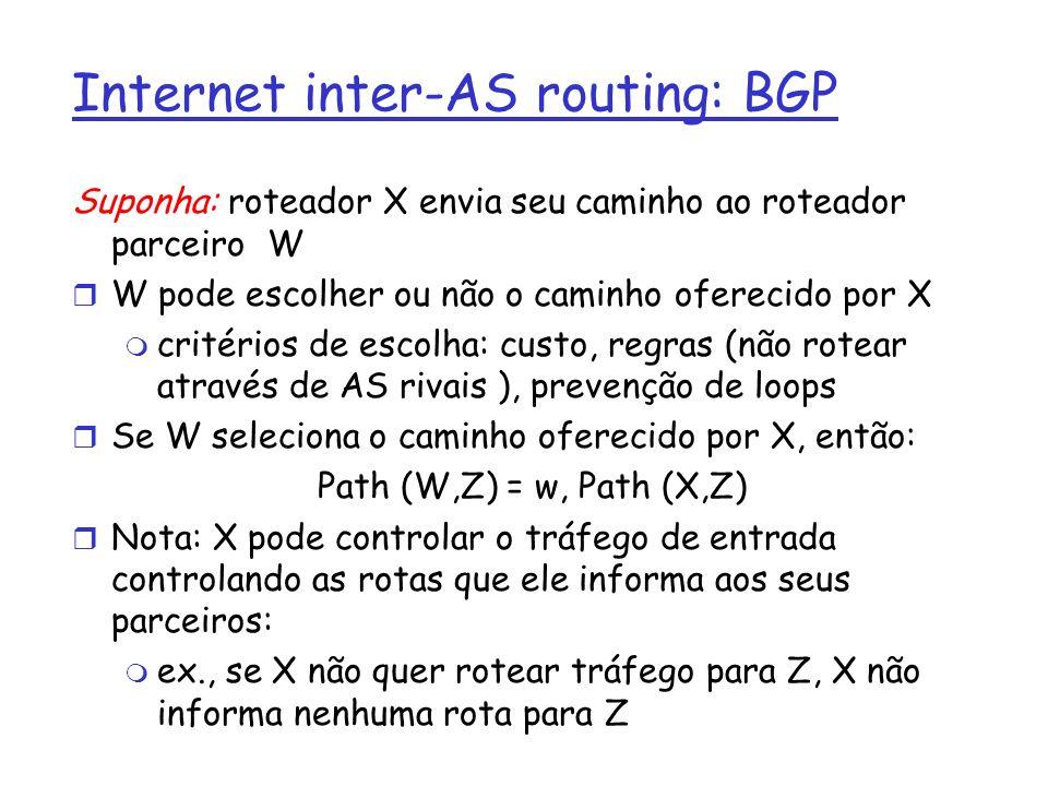 Internet inter-AS routing: BGP Suponha: roteador X envia seu caminho ao roteador parceiro W r W pode escolher ou não o caminho oferecido por X m crité