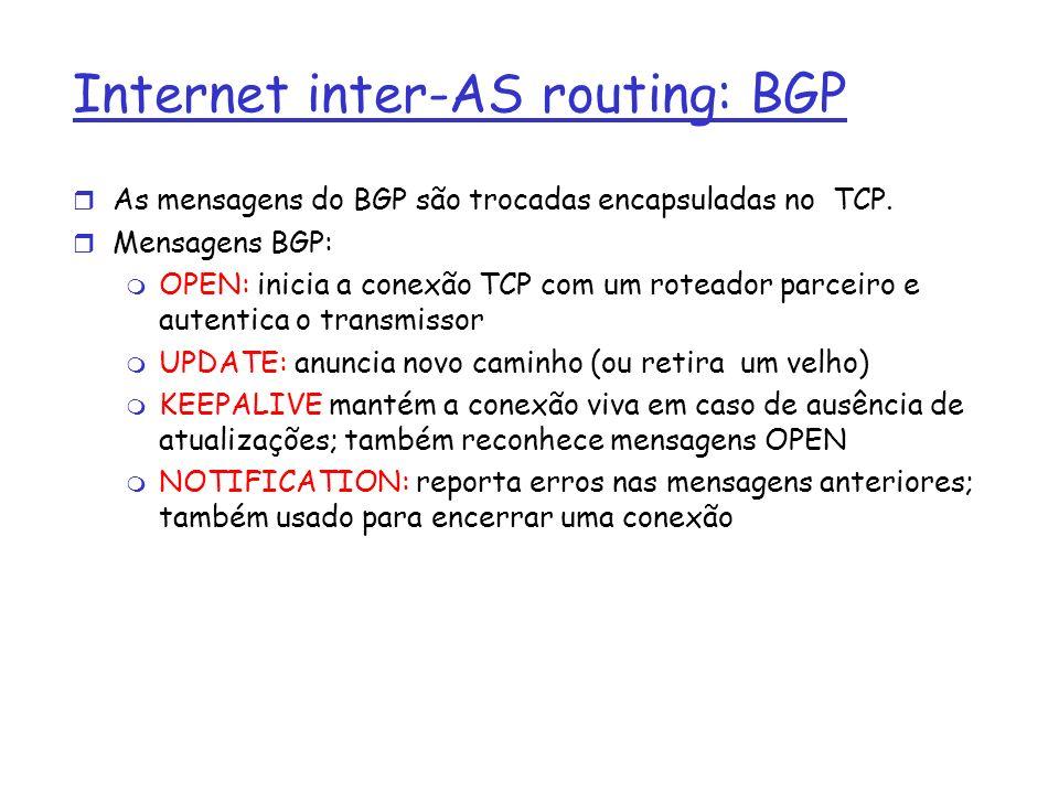 Internet inter-AS routing: BGP r As mensagens do BGP são trocadas encapsuladas no TCP. r Mensagens BGP: m OPEN: inicia a conexão TCP com um roteador p