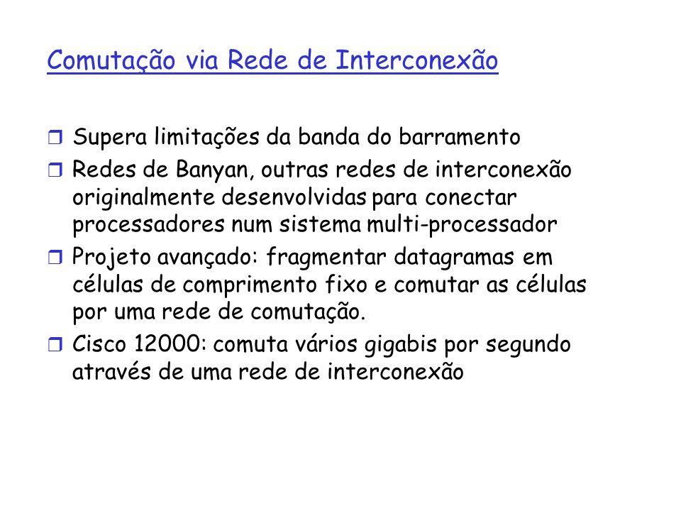 Comutação via Rede de Interconexão r Supera limitações da banda do barramento r Redes de Banyan, outras redes de interconexão originalmente desenvolvi