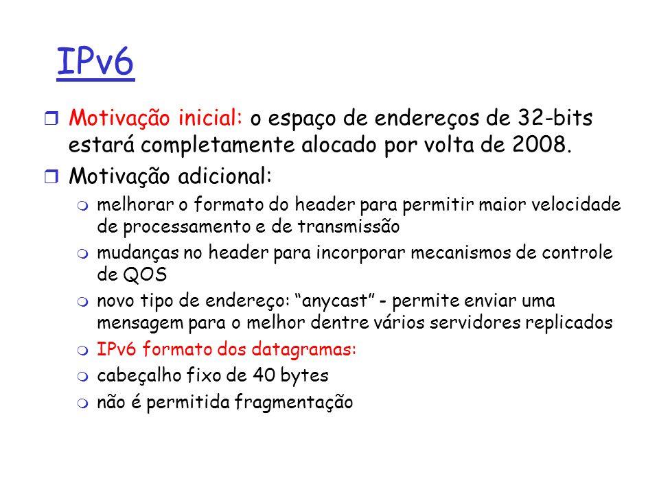 IPv6 r Motivação inicial: o espaço de endereços de 32-bits estará completamente alocado por volta de 2008. r Motivação adicional: m melhorar o formato
