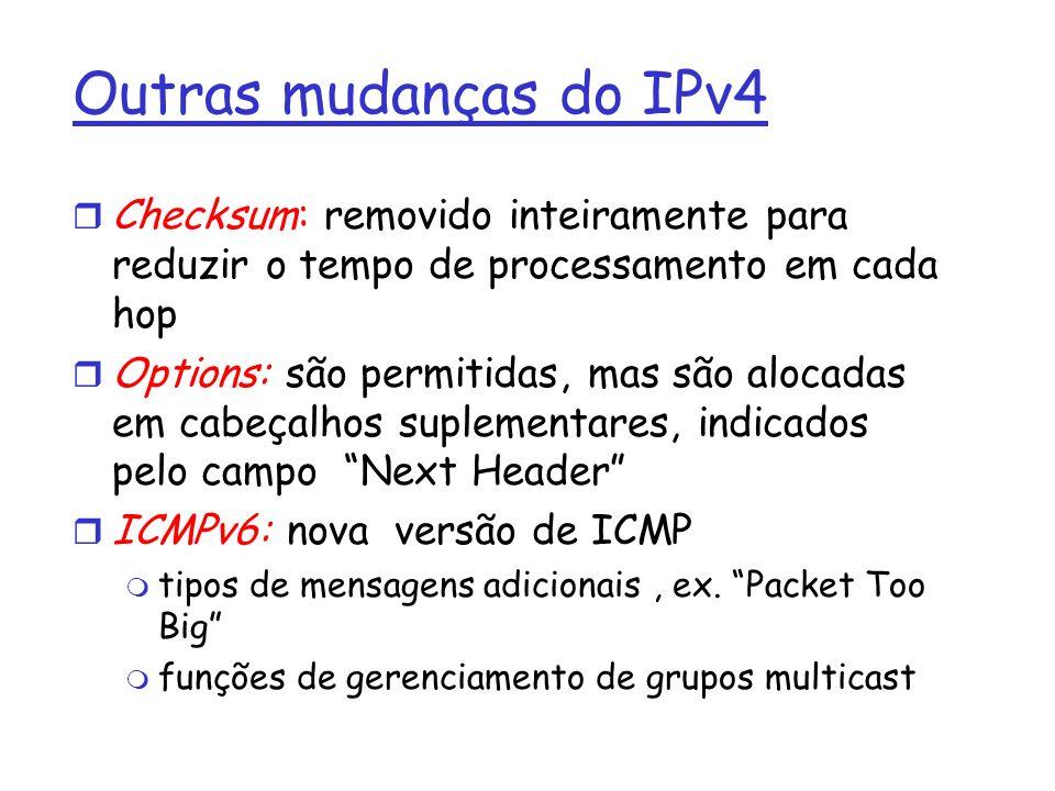 Outras mudanças do IPv4 r Checksum: removido inteiramente para reduzir o tempo de processamento em cada hop r Options: são permitidas, mas são alocada