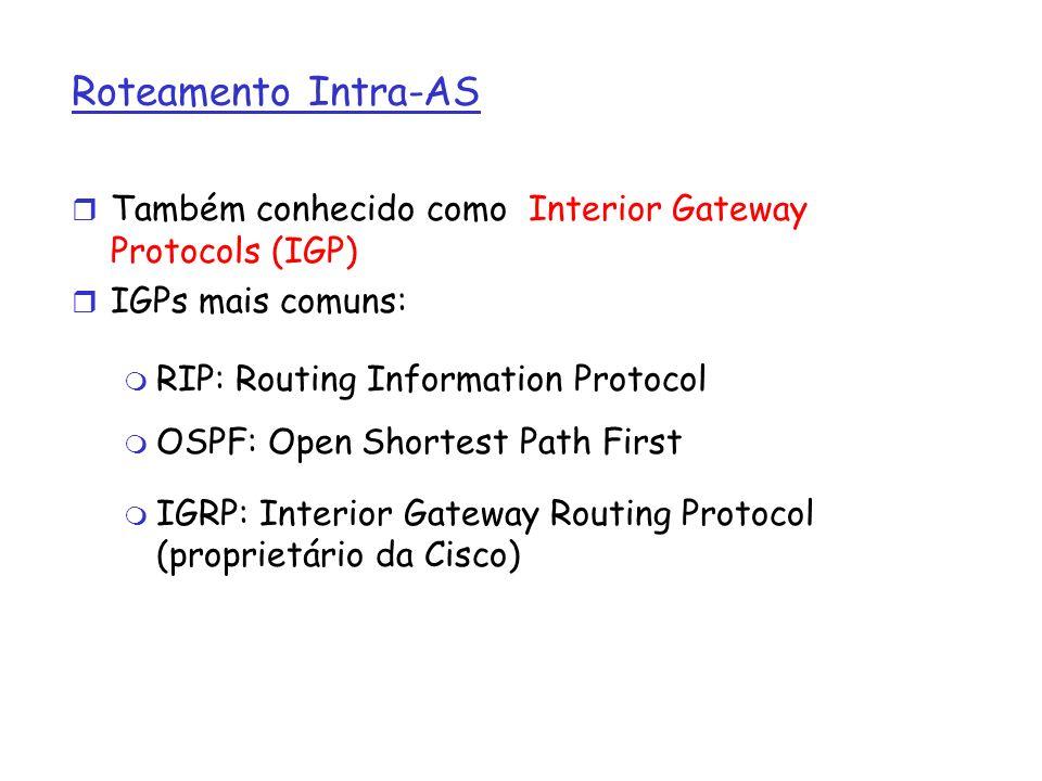 Roteamento Intra-AS r Também conhecido como Interior Gateway Protocols (IGP) r IGPs mais comuns: m RIP: Routing Information Protocol m OSPF: Open Shor