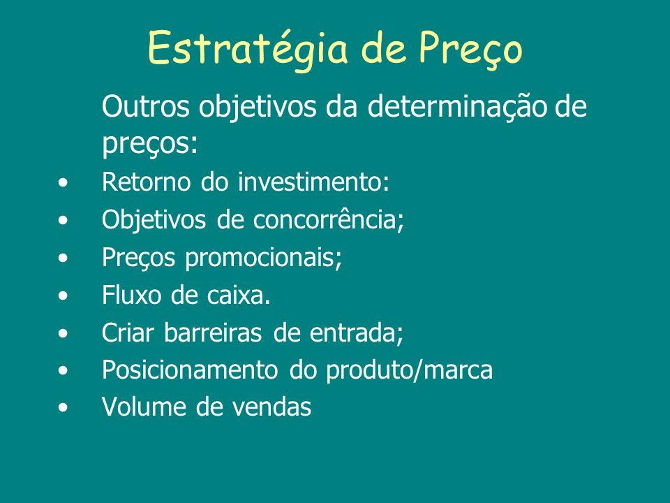 Estratégia de Preço Outros objetivos da determinação de preços: Retorno do investimento: Objetivos de concorrência; Preços promocionais; Fluxo de caix