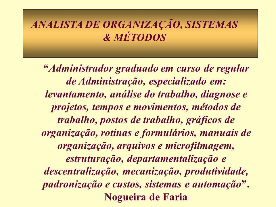 Administrador graduado em curso de regular de Administração, especializado em: levantamento, análise do trabalho, diagnose e projetos, tempos e movime