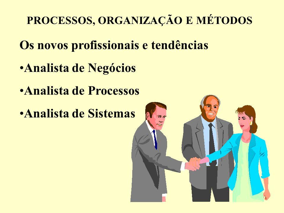 PROCESSOS, ORGANIZAÇÃO E MÉTODOS Os novos profissionais e tendências Analista de Negócios Analista de Processos Analista de Sistemas