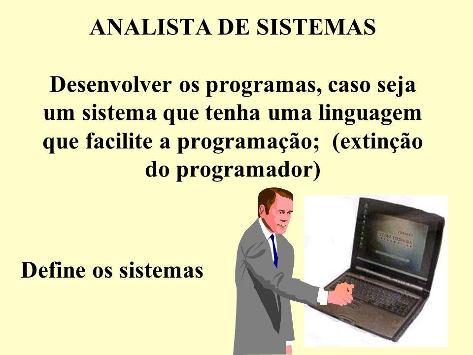 ANALISTA DE SISTEMAS Desenvolver os programas, caso seja um sistema que tenha uma linguagem que facilite a programação; (extinção do programador) Defi
