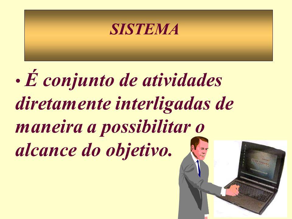 SISTEMA É conjunto de atividades diretamente interligadas de maneira a possibilitar o alcance do objetivo.
