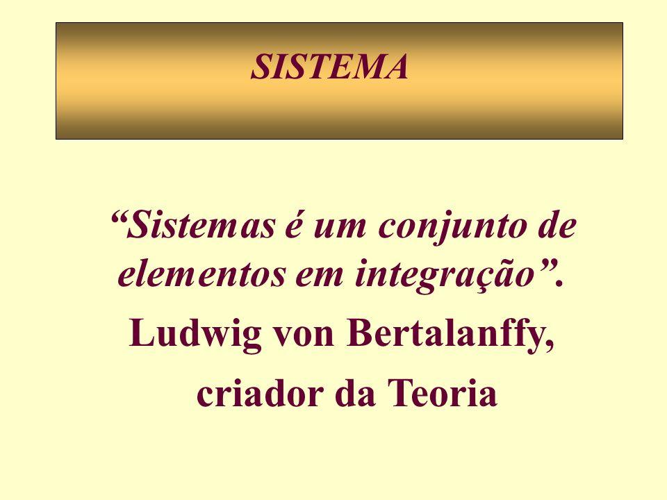 SISTEMA Sistemas é um conjunto de elementos em integração. Ludwig von Bertalanffy, criador da Teoria