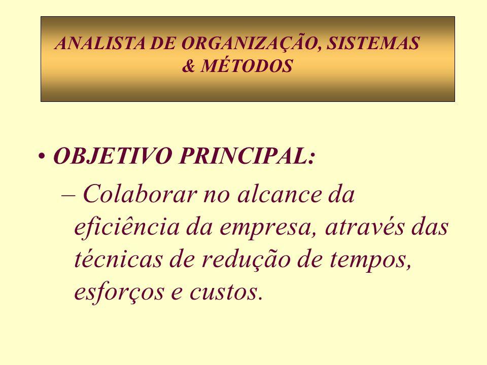 OBJETIVO PRINCIPAL: – Colaborar no alcance da eficiência da empresa, através das técnicas de redução de tempos, esforços e custos. ANALISTA DE ORGANIZ