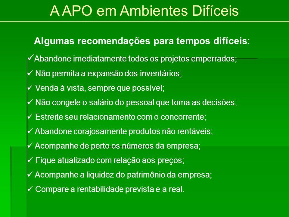 A APO em Ambientes Difíceis Algumas recomendações para tempos difíceis: Abandone imediatamente todos os projetos emperrados; Não permita a expansão do