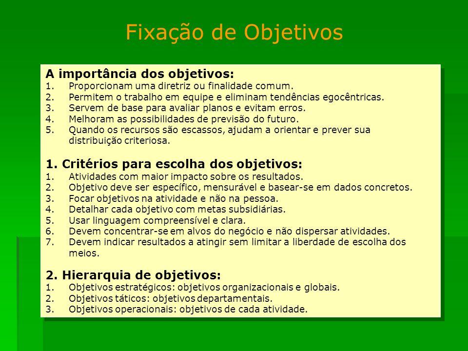A importância dos objetivos: 1.Proporcionam uma diretriz ou finalidade comum. 2.Permitem o trabalho em equipe e eliminam tendências egocêntricas. 3.Se