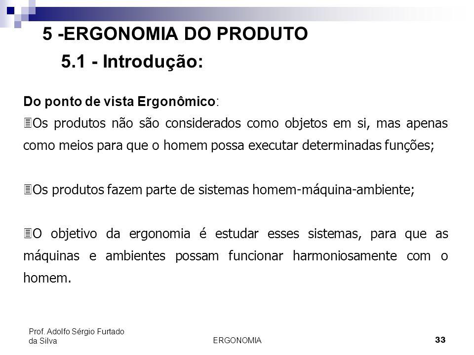 ERGONOMIA 33 Prof. Adolfo Sérgio Furtado da Silva 5 -ERGONOMIA DO PRODUTO 5.1 - Introdução: Do ponto de vista Ergonômico: 3Os produtos não são conside
