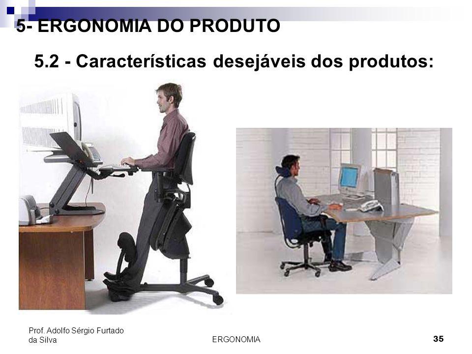 ERGONOMIA 35 Prof. Adolfo Sérgio Furtado da Silva 5- ERGONOMIA DO PRODUTO 5.2 - Características desejáveis dos produtos: