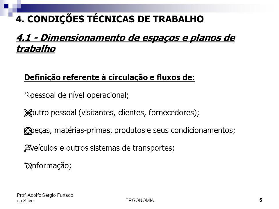 ERGONOMIA 5 Prof. Adolfo Sérgio Furtado da Silva Definição referente à circulação e fluxos de: Ê pessoal de nível operacional; Ë outro pessoal (visita