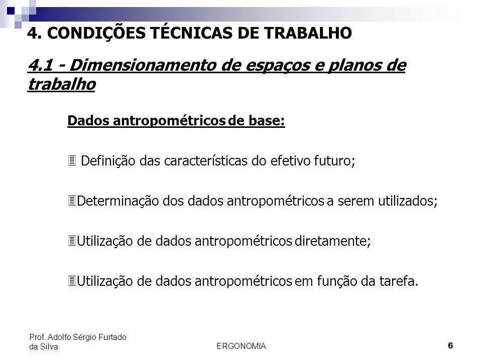 ERGONOMIA 6 Prof. Adolfo Sérgio Furtado da Silva Dados antropométricos de base: 3 Definição das características do efetivo futuro; 3Determinação dos d