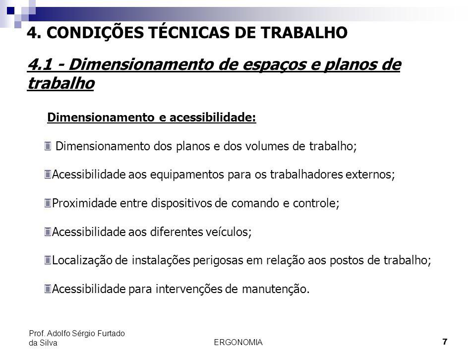 ERGONOMIA 7 Prof. Adolfo Sérgio Furtado da Silva Dimensionamento e acessibilidade: 3 Dimensionamento dos planos e dos volumes de trabalho; 3Acessibili
