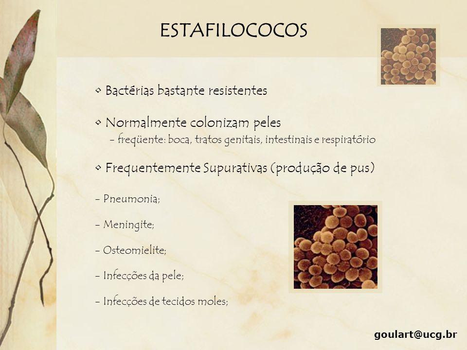 ESTAFILOCOCOS Bactérias bastante resistentes Normalmente colonizam peles Frequentemente Supurativas (produção de pus) - Pneumonia; - Meningite; - Oste