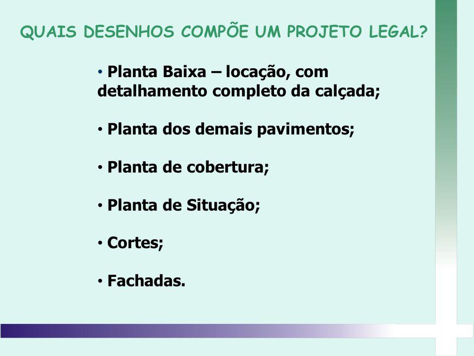 Planta Baixa – locação, com detalhamento completo da calçada; Planta dos demais pavimentos; Planta de cobertura; Planta de Situação; Cortes; Fachadas.