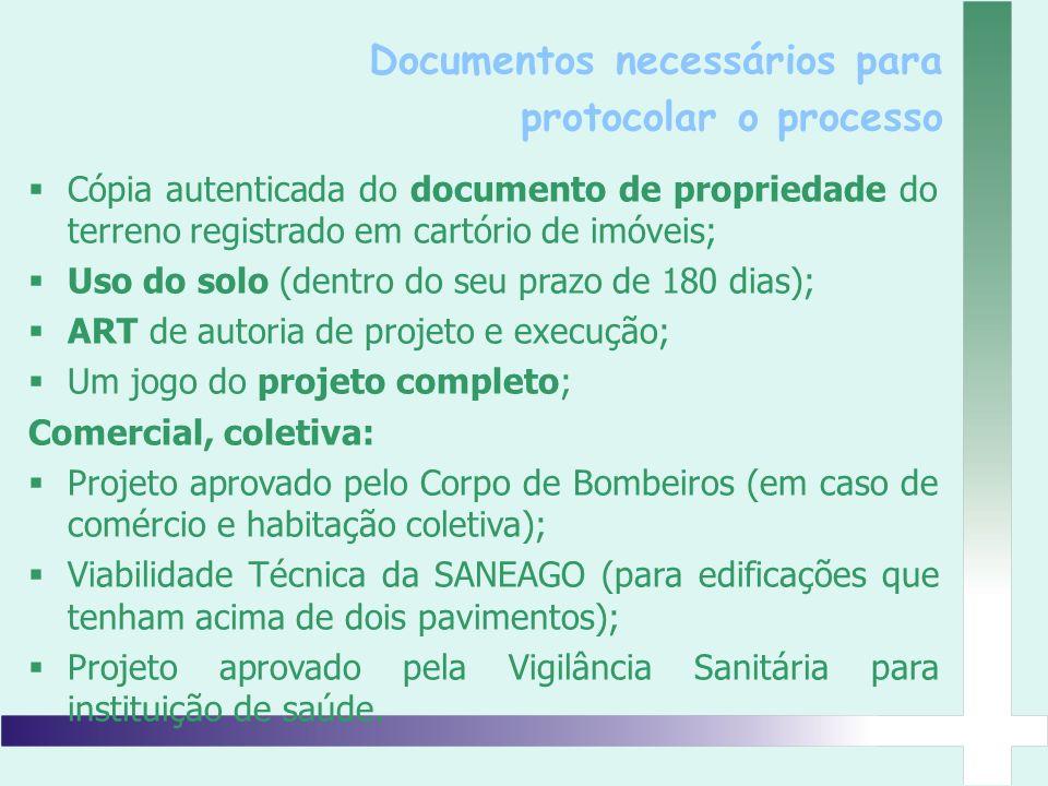 Cópia autenticada do documento de propriedade do terreno registrado em cartório de imóveis; Uso do solo (dentro do seu prazo de 180 dias); ART de auto