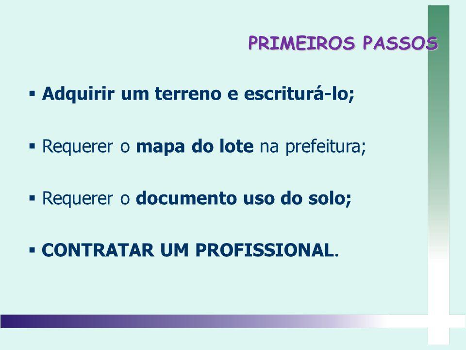 Adquirir um terreno e escriturá-lo; Requerer o mapa do lote na prefeitura; Requerer o documento uso do solo; CONTRATAR UM PROFISSIONAL. PRIMEIROS PASS