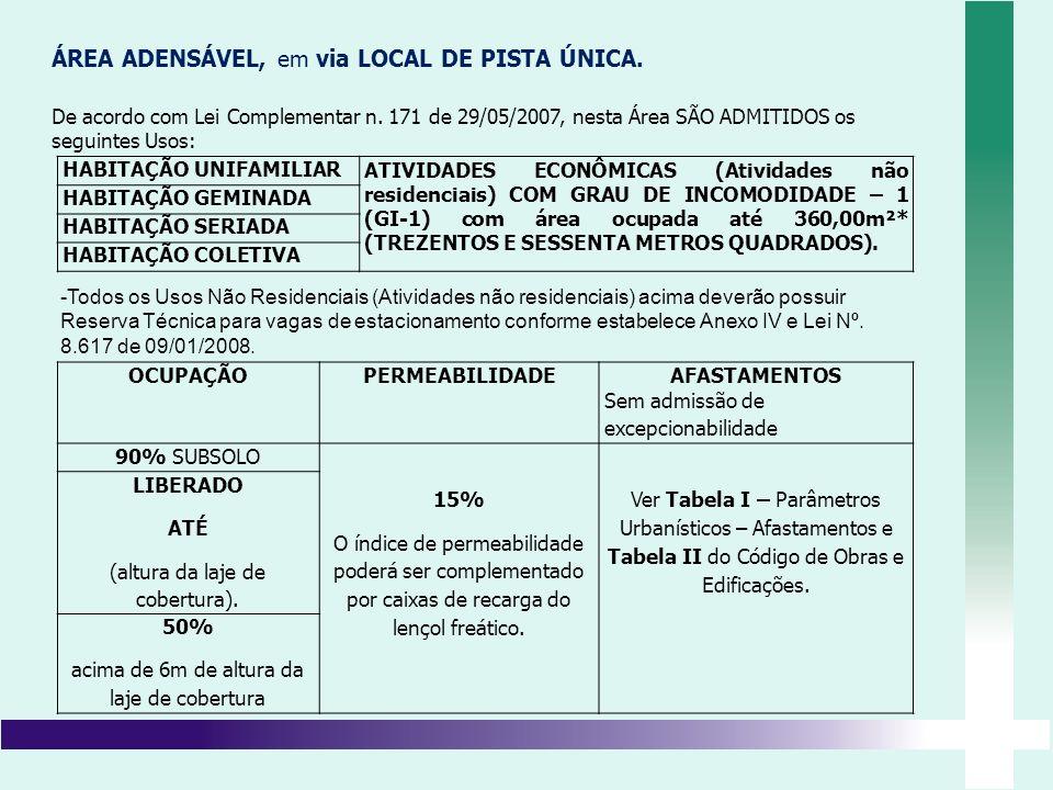 ÁREA ADENSÁVEL, em via LOCAL DE PISTA ÚNICA. De acordo com Lei Complementar n. 171 de 29/05/2007, nesta Área SÃO ADMITIDOS os seguintes Usos: HABITAÇÃ