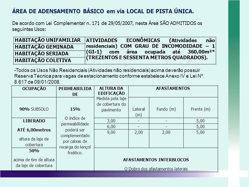 ÁREA DE ADENSAMENTO BÁSICO em via LOCAL DE PISTA ÚNICA. De acordo com Lei Complementar n. 171 de 29/05/2007, nesta Área SÃO ADMITIDOS os seguintes Uso