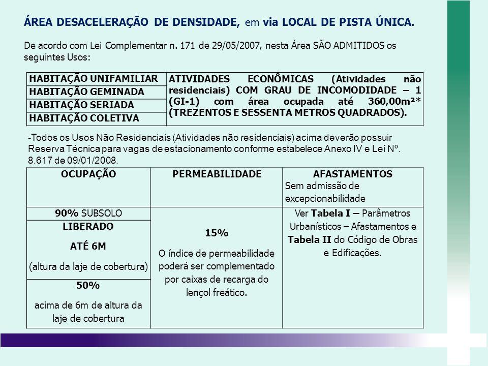 ÁREA DESACELERAÇÃO DE DENSIDADE, em via LOCAL DE PISTA ÚNICA. De acordo com Lei Complementar n. 171 de 29/05/2007, nesta Área SÃO ADMITIDOS os seguint