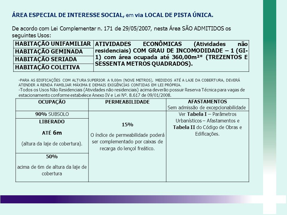 ÁREA ESPECIAL DE INTERESSE SOCIAL, em via LOCAL DE PISTA ÚNICA. De acordo com Lei Complementar n. 171 de 29/05/2007, nesta Área SÃO ADMITIDOS os segui