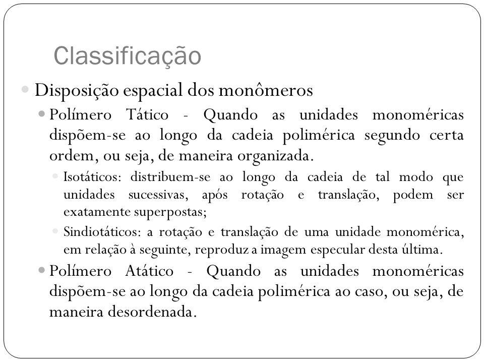 Classificação Disposição espacial dos monômeros Polímero Tático - Quando as unidades monoméricas dispõem-se ao longo da cadeia polimérica segundo cert