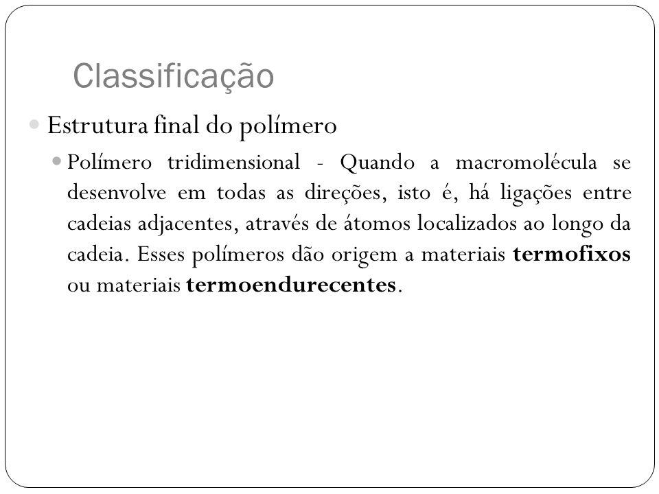 Classificação Estrutura final do polímero Polímero tridimensional - Quando a macromolécula se desenvolve em todas as direções, isto é, há ligações ent