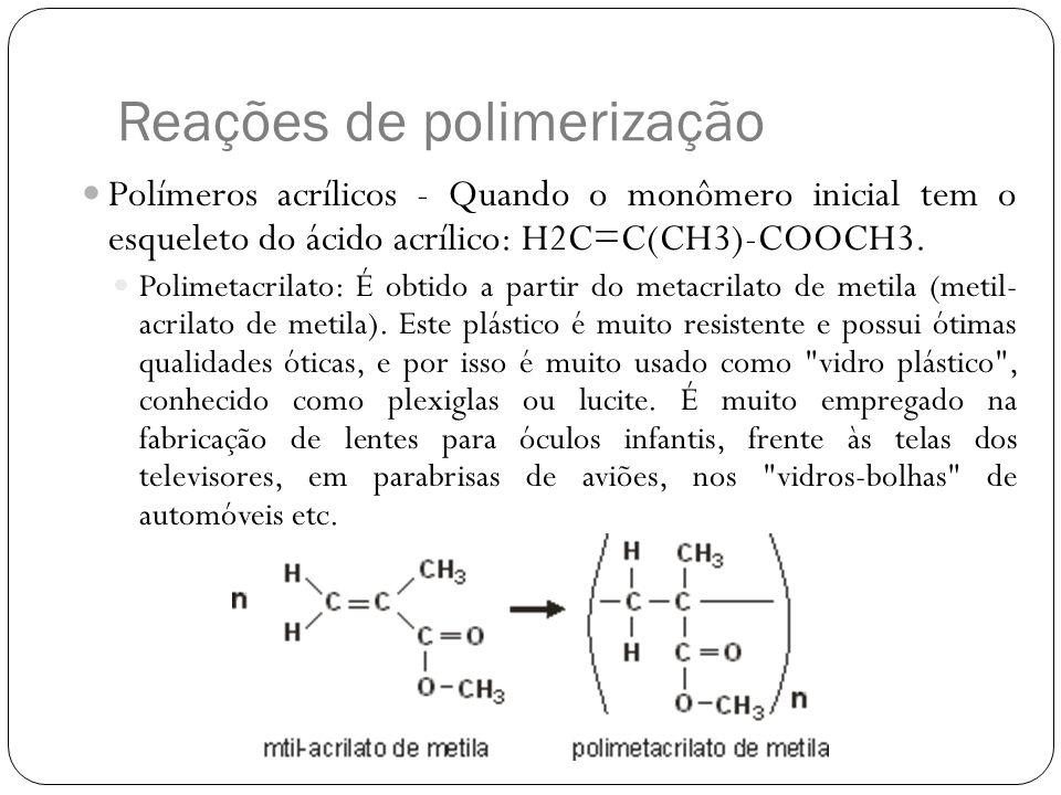 Reações de polimerização Polímeros acrílicos - Quando o monômero inicial tem o esqueleto do ácido acrílico: H2C=C(CH3)-COOCH3. Polimetacrilato: É obti