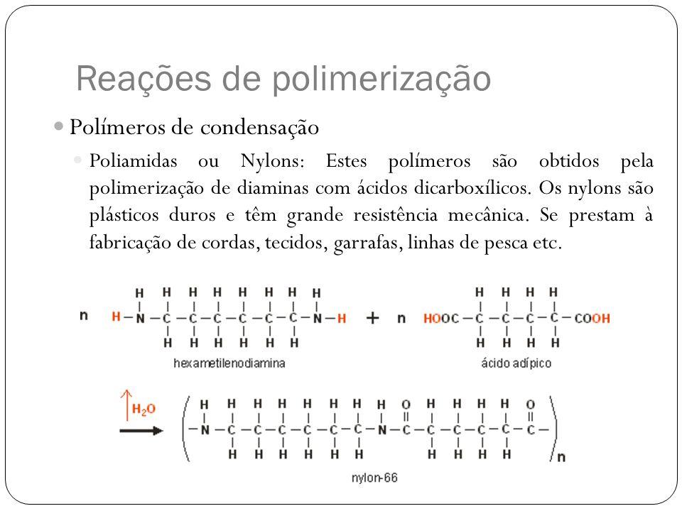 Reações de polimerização Polímeros de condensação Poliamidas ou Nylons: Estes polímeros são obtidos pela polimerização de diaminas com ácidos dicarbox