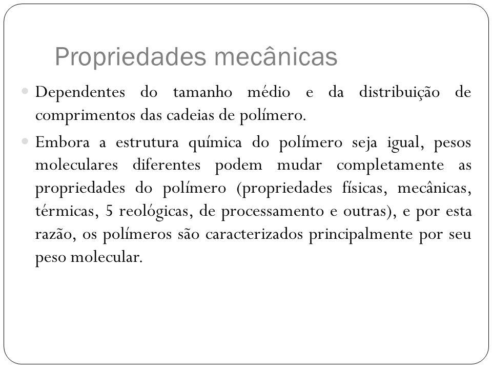 Propriedades mecânicas Dependentes do tamanho médio e da distribuição de comprimentos das cadeias de polímero. Embora a estrutura química do polímero