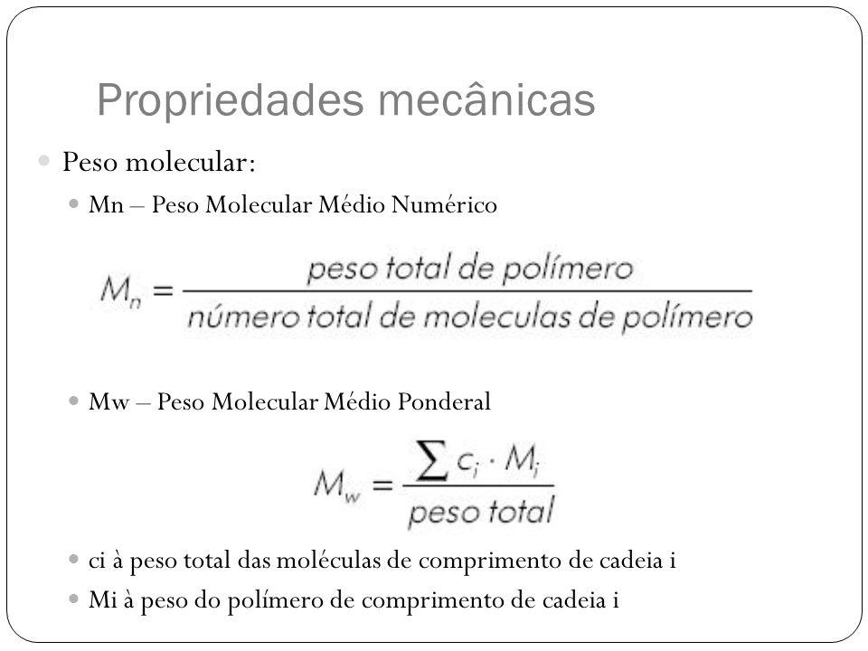 Peso molecular: Mn – Peso Molecular Médio Numérico Mw – Peso Molecular Médio Ponderal ci à peso total das moléculas de comprimento de cadeia i Mi à pe
