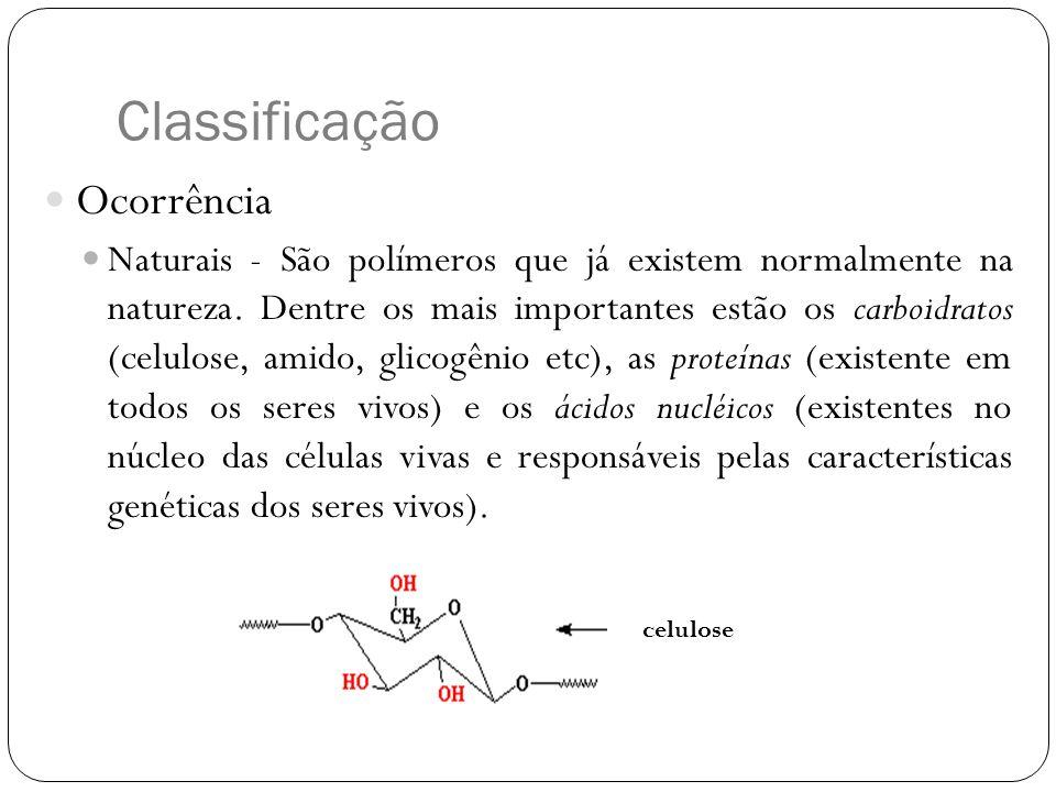 Classificação Ocorrência Naturais - São polímeros que já existem normalmente na natureza. Dentre os mais importantes estão os carboidratos (celulose,