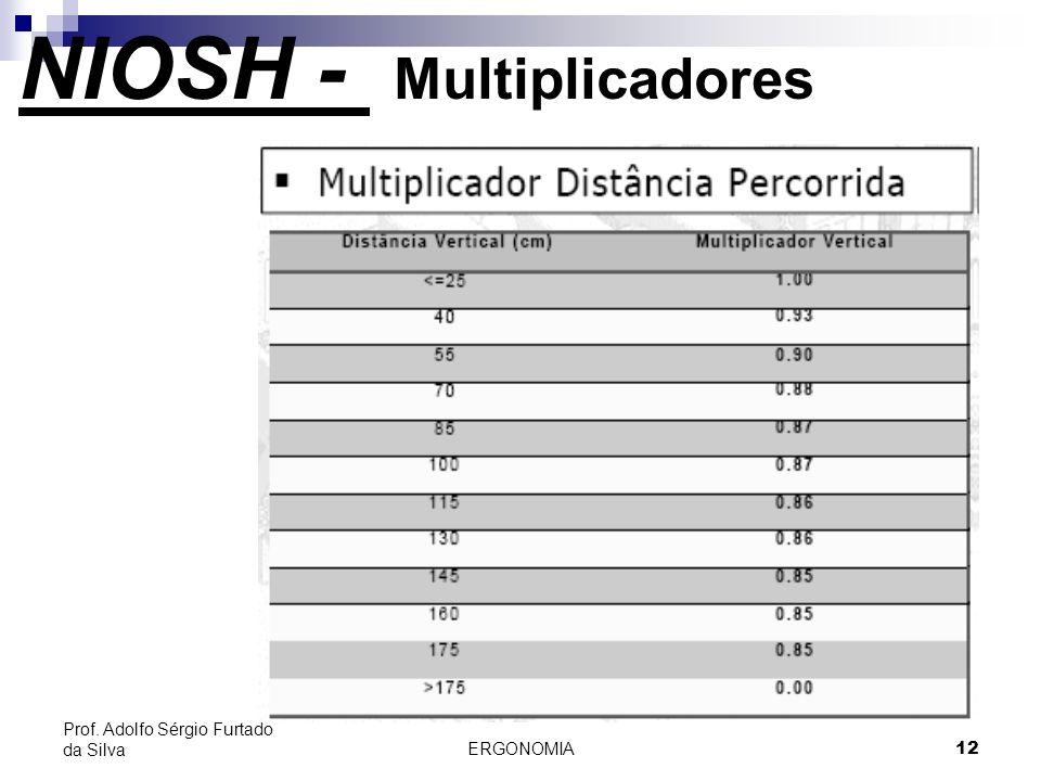 ERGONOMIA 12 Prof. Adolfo Sérgio Furtado da Silva NIOSH - Multiplicadores