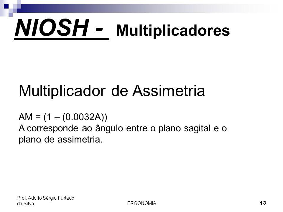 ERGONOMIA 13 Prof. Adolfo Sérgio Furtado da Silva Multiplicador de Assimetria AM = (1 – (0.0032A)) A corresponde ao ângulo entre o plano sagital e o p