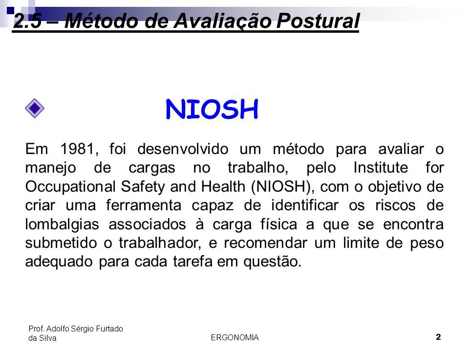 2 Prof. Adolfo Sérgio Furtado da Silva 2.5.2 - NIOSH Em 1981, foi desenvolvido um método para avaliar o manejo de cargas no trabalho, pelo Institute f