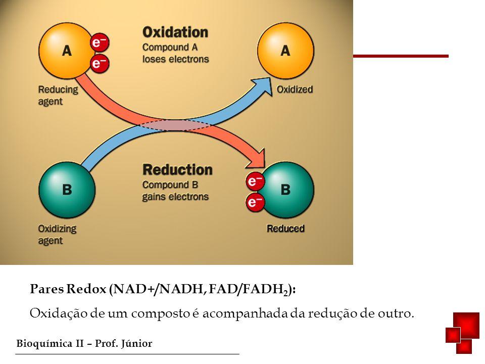 Bioquímica II – Prof. Júnior Fosforilação oxidativa Pares Redox (NAD+/NADH, FAD/FADH 2 ): Oxidação de um composto é acompanhada da redução de outro.