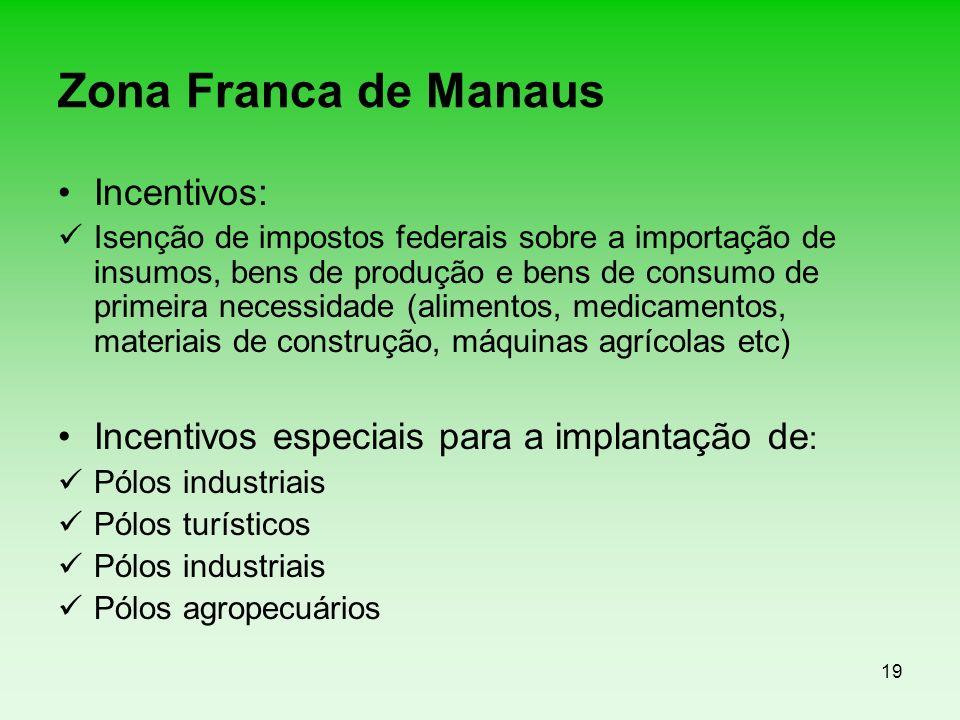 19 Zona Franca de Manaus Incentivos: Isenção de impostos federais sobre a importação de insumos, bens de produção e bens de consumo de primeira necess