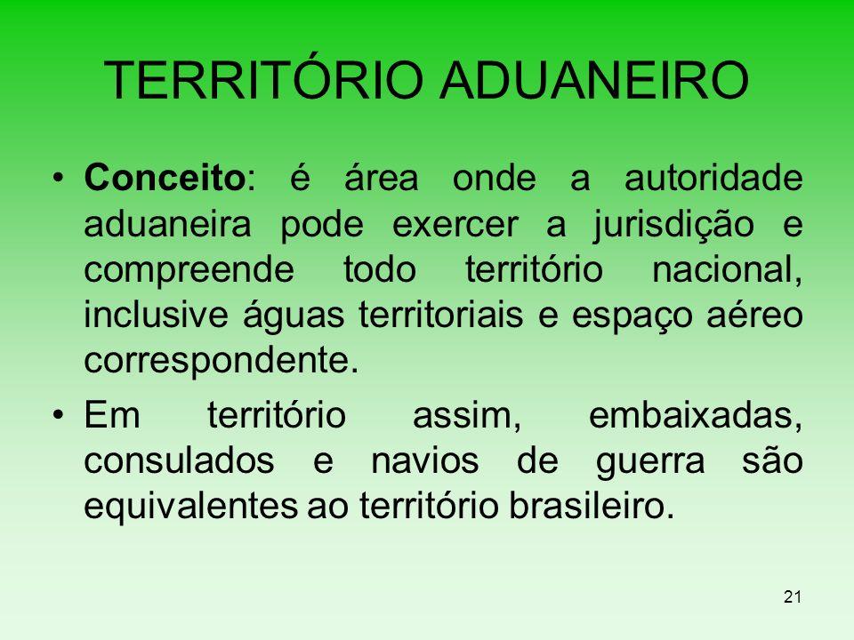 TERRITÓRIO ADUANEIRO Conceito: é área onde a autoridade aduaneira pode exercer a jurisdição e compreende todo território nacional, inclusive águas ter